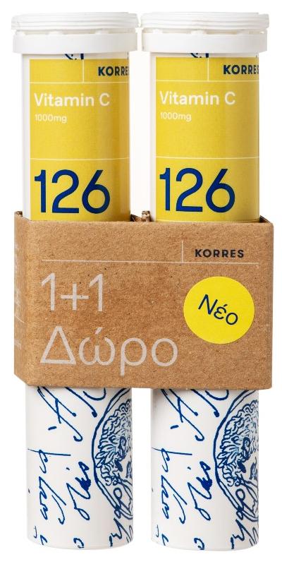 Korres Vitamin C 1000mg, 2x 18 Αναβράζοντα Δισκία