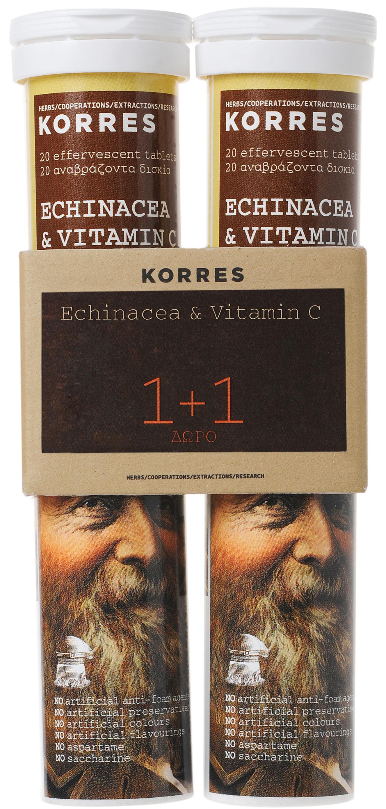 Korres Echinacea & Βιταμίνη C Γεύση Λεμόνι, 2x18 Αναβράζοντα Δισκία