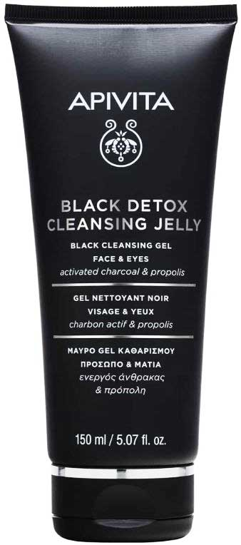 Apivita Black Detox Cleansing Jelly For Face And Eyes, 150ml