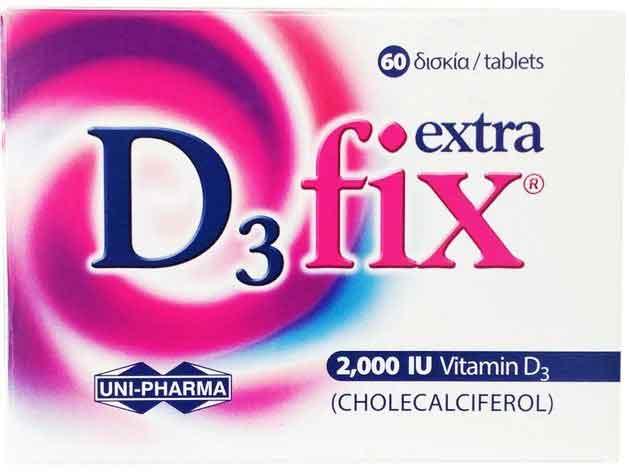 Uni-Pharma D3 Fix  Extra 2.000 IU, 60 Δισκία