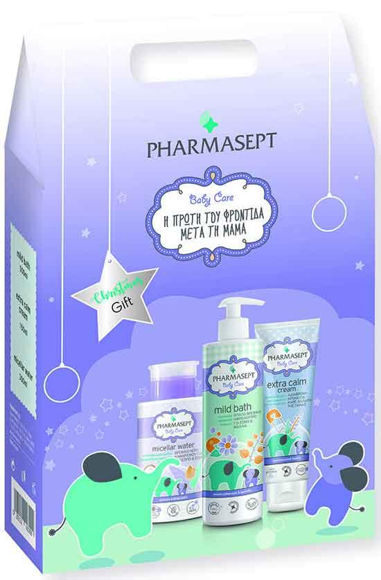 Pharmasept Christmas Gift Tol Velvet Mild Bath 500ml & Micellar Water 300ml & Tol Velvet Baby Care Extra Calm Cream 150ml