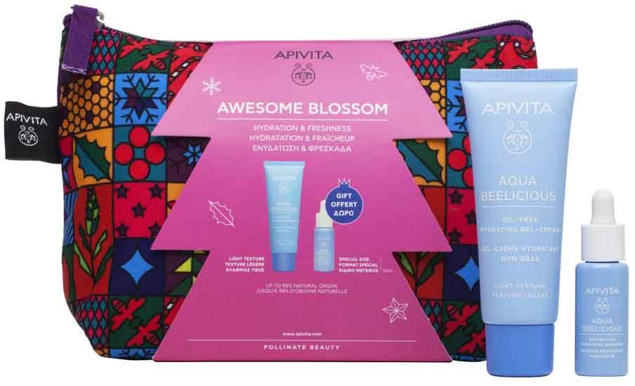 Apivita Set Awesome Blossom Aqua Beelicious Oil Free Κρέμα Ενυδάτωσης Ελαφριάς Υφής 40ml & ΔΩΡΟ Booster Αναζωογόνησης & Ενυδάτωσης 10ml