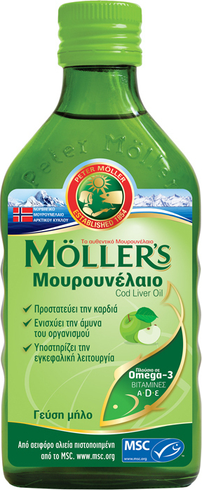 Möller's Υγρό Μουρουνέλαιο Mε Γεύση Μήλο, 250ml
