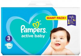 Pampers Active Baby Giant Pack No3 (6- 10 kg), 104 Τεμάχια