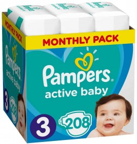 Pampers Monthly Pack Active Baby No3 (6- 10 kg), 208 Τεμάχια