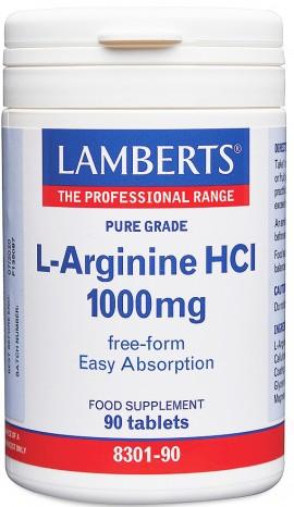 Lamberts L Arginine HCL 1000mg, 90 Ταμπλέτες