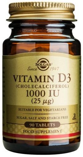 Solgar Vitamin D3 1000IU, 90 Ταμπλέτες