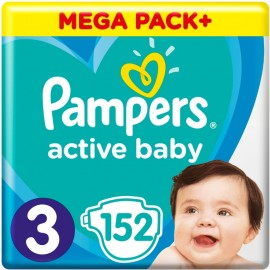 Pampers Active Baby Giant Pack No3 (6- 10 kg), 152 Τεμάχια