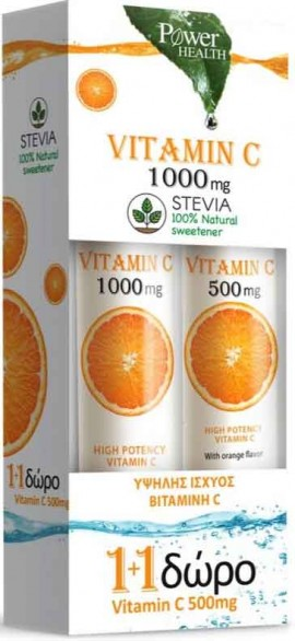 Power Health Vitamin C 1.000mg Στέβια 24 Αναβράζοντα Δισκία + Δώρο Vitamin C 500mg , 20 Αναβράζοντα Δισκία