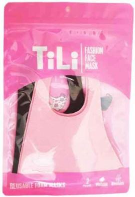 Tili Μάσκες Παιδικές Πολλαπλών Χρήσεων Ρόζ/ Μάυρη Για Kορίτσι, 2 Τεμάχια