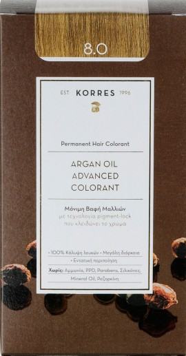 Korres Argan Oil Advanced Colorant 8.0 Ξανθό Ανοιχτό, 50ml