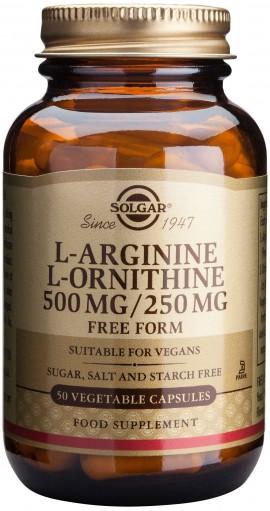 Solgar L-Arginine L-Ornithine 500/250mg, 50 Κάψουλες