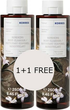 Korres Jasmine Renewing Body Cleanser, 2x 250ml