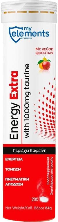 My Elements Energy Extra Γεύση Φρούτων, 20 Αναβράζοντα Δισκία