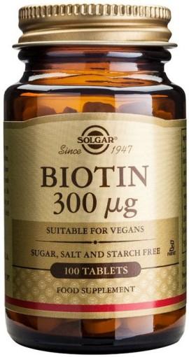 Solgar Biotin 300mg, 100 Ταμπλέτες