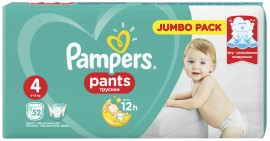 Pampers Pants Jumbo Pack No4 (9- 14 kg), 52 Τεμάχια