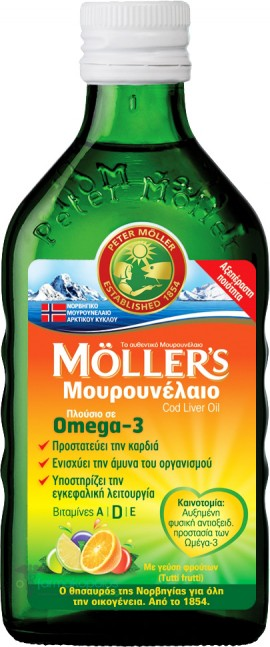 Möller's Υγρό Μουρουνέλαιο Mε Γεύση Φρούτων, 250ml