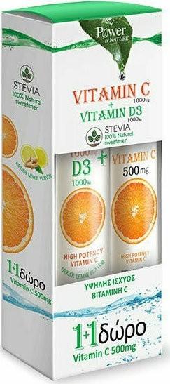 Power Health Vit.C 1000mg & Vit.D3 1000iu Stevia 24 Αναβράζντα & Δώρο VitC 500mg 20 Αναβράζοντα Δισκία
