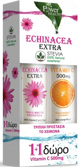 Power Health Echinacea Extra Στέβια 24 Αναβράζοντα Δισκία+ Vitamin 500mg, 20 Αναβράζοντα Δισκία