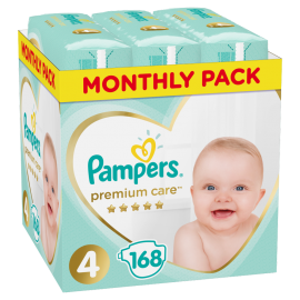 Pampers Monthly Pack Premium Care Νο4 (9-14 kg), 168 Τεμάχια