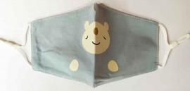 Παιδική Βαμβακερή Μάσκα Με Ρυθμιζόμενο Λαστιχάκι Γκρί Bear, 1 Τεμάχιο