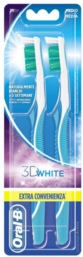 Oral- B 3D White Οδοντόβουρτσα 35 Μέτρια, 2 Τεμάχια