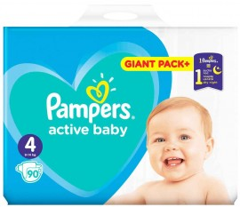 Pampers Active Baby No4 (9- 14 kg), 90 Τεμάχια