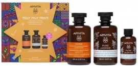 Apivita Set Holly Jolly Treats Σαμπουάν Λάμψης & Αναζωογόνησης Πορτοκάλι & Μέλι 250ml & Pure Jasmine Αφρόλουτρο 250ml & Pure Jasmine Ενυδατικό Γαλάκτωμα 75ml