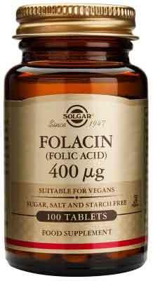 Solgar Folacin (Folic Acid) 400mg, 100 Ταμπέτες