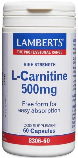 Lamberts L-Carnitine 500mg, 60 Κάψουλες