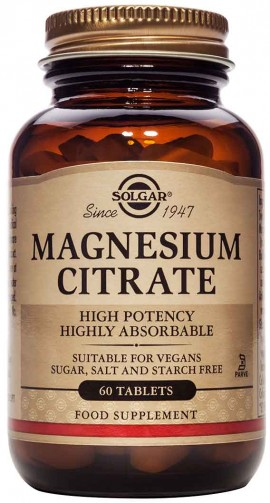 Solgar Magnesium Citrate 200mg, 60 Ταμπλέτες