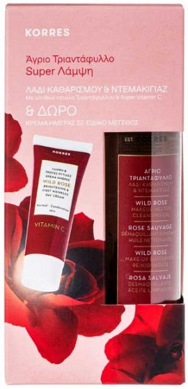 Korres Promo Άγριο Τριαντάφυλλο Λάδι Καθαρισμού/ Ντεμακιγιάζ 150ml & Δώρο Κρέμα Ημέρας 15ml