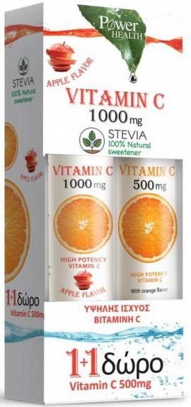 Power Health Vitamin C 1.000mg Στέβια 24 Αναβράζοντα Δισκία Γεύση Μήλου + Δώρο Vitamin C 500mg , 20 Αναβράζοντα Δισκία