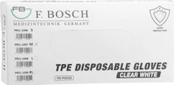 Γάντια TPE Mίας Xρήσης F.Bosch Xωρίς Πούδρα Λευκό Large, 100 Τεμάχια