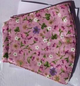 Παιδική Βαμβακερή Μάσκα Με Πολυεστερικό Φίλτρο Ρόζ Λουλούδια, 1 Τεμάχιο