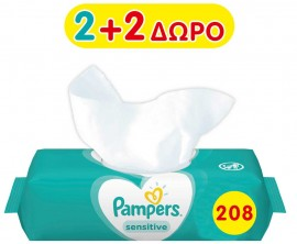 Pampers Sensitive Wipes 52 Τέμαχια 2+ 2 Δώρο