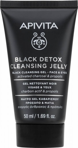 Apivita Mini Black Detox Cleansing Jelly For Face And Eyes, 50ml