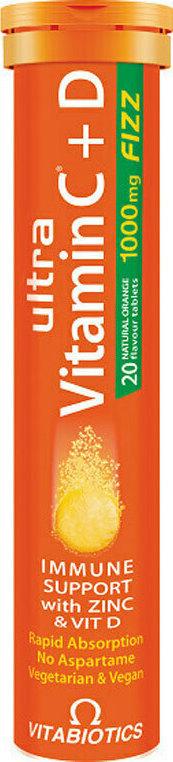 Vitabiotics Ultra Vitamin C 1000mg + D  Fizz/  Πορτοκάλι, 20 Αναβράζοντα Δισκία