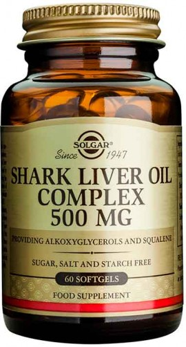 Solgar Shark Liver Oil Complex 500mg, 60 Κάψουλες