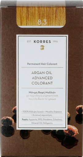Korres Argan Oil Advanced Colorant 8.3 Ξανθό Ανοιχτό Χρυσό/ Μελί, 50ml