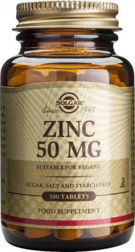 Solgar Zinc 50mg, 100 Ταμπλέτες