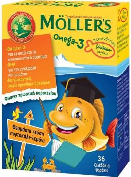 Möller's Omega 3 Kids Γεύση Πορτοκάλι- Λεμόνι, 36 Ζελεδάκια- Ψαράκια