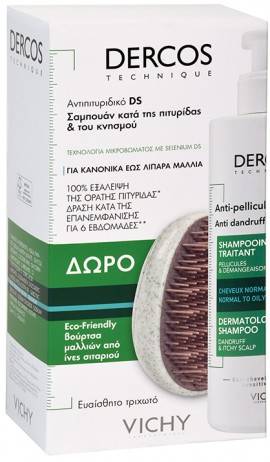 Vichy Promo Dercos Anti Dandruff Shampoo Normal To Oily Hair 400ml & Δώρο Βούρτσα Μαλλιών Από Ίνες Σιταριού