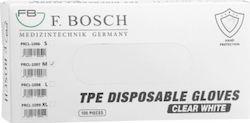 Γάντια TPE Mίας Xρήσης F.Bosch Xωρίς Πούδρα Λευκό Medium, 100 Τεμάχια