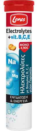 Lanes Electrolytes + Vit. B,C,E Πορτοκάλι, 20 Αναβράζοντα Δισκία