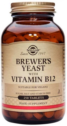 Solgar Brewers Yeast With Vitamine B-12, 250 Ταμπλέτες