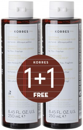 Korres Σαμπουάν Πρωτείνες Ρυζιού & Τήλιο, 2x 250ml