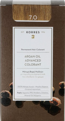Korres Argan Oil Advanced Colorant 7.0 Ξανθό, 50ml