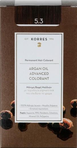 Korres Argan Oil Advanced Colorant 5.3 Καστανό Ανοιχτό Χρυσό/ Μελί, 50ml