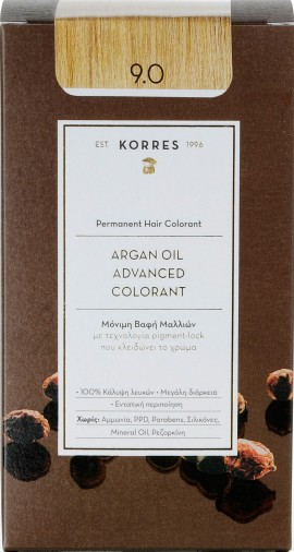 Korres Argan Oil Advanced Colorant 9.0 Ξανθό Πολύ Ανοιχτό, 50ml